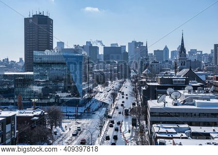 Montreal, Ca - 22 February 2021: View Of Montreal Skyline From Jacques Cartier Bridge