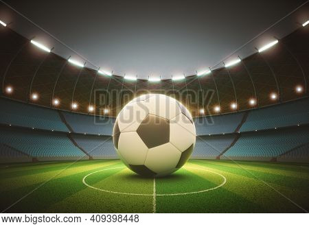 Spotlights Illuminating The Soccer Ball In The Center. 3d Illustration With Clipping Path On The Bal