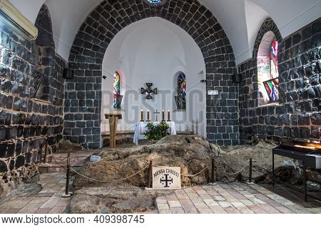 Tabgha, Galilee, Israel January 27, 2020: Interior Church Of The Primacy Of Peter, Tabgha, Sea Of Ga