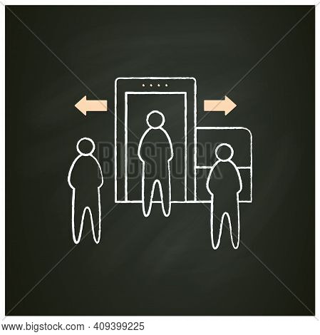 Passenger Processing Chalk Icon. Decentralise Passengers Processing. Moving Security Screening To Ex