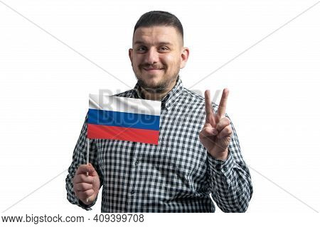 White Guy Holding A Flag Of Russia And Shows Two Fingers Isolated On A White Background.