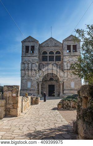 Mount Tabor. Israel. January 27, 2020: Transfiguration Church Building, Mount Tabor, Lower Galilee,