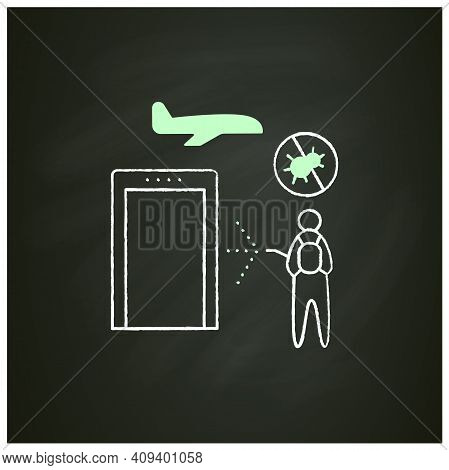 Sanitization Airport Chalk Icon. Disease Prevention. Biosafety Worker Disinfect Airport. Mandatory P