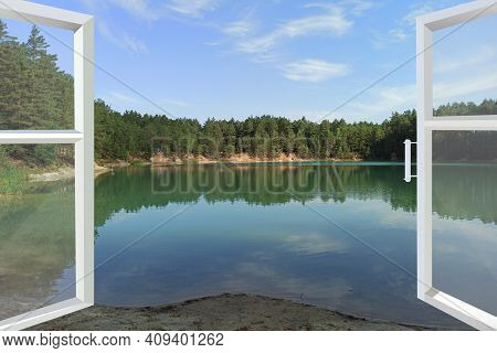 Opened Panoramic Window With View To Forest Lake. Window In Modern Room With Panoramic View To Fores
