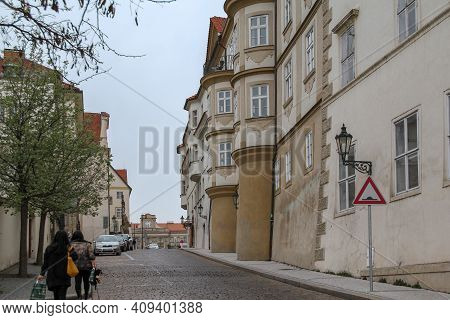 Prague, Czech - April 24, 2012: This Is Uvoz Street, One Of The Oldest In The City With Stunning Vie