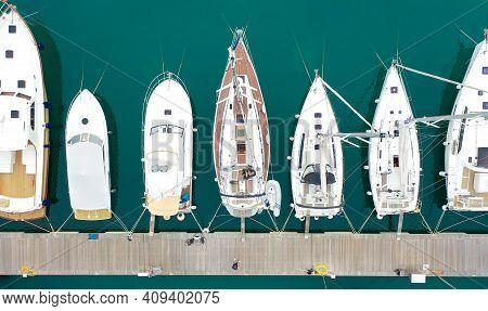 Lustica, Montenegro - 15.10.2020: Top View Of Luxury Yachts In Lustica Bay Marina In Montenegro