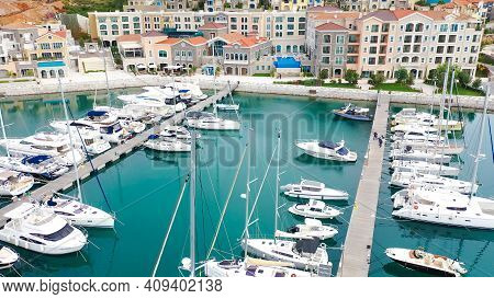 Lustica, Montenegro - 15.10.2020: Aerial View Of Lustica Bay Marina With Its Luxury Boats And Yachts