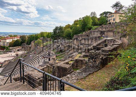 Lyon, France - Sep 27, 2020: Theatre Gallo Romain, The Ancient Roman Theatre Of Fourvier At Lyon, Fr