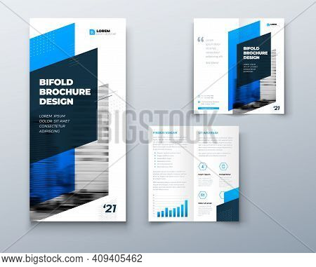 Bi Fold Brochure Or Flyer Design With Circle. Creative Concept Flyer Or Brochure. Template Is White