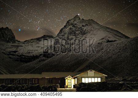 Night In Machermo, Himalayas Mountains. Everest Base Camp Trek.