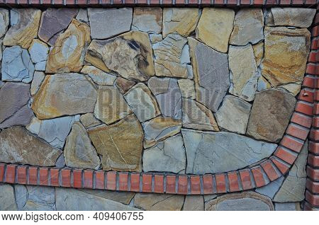 Texture From The Chipped Stone Laid In A Wall