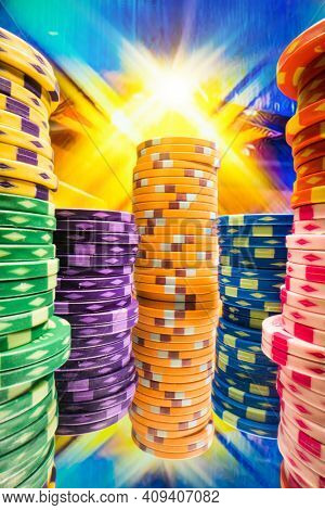 Casino chips on a gaming table