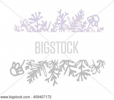 Doodle Frame Field Plants In Sketch Style On White Background. Nature Background Vector. Hand Drawn