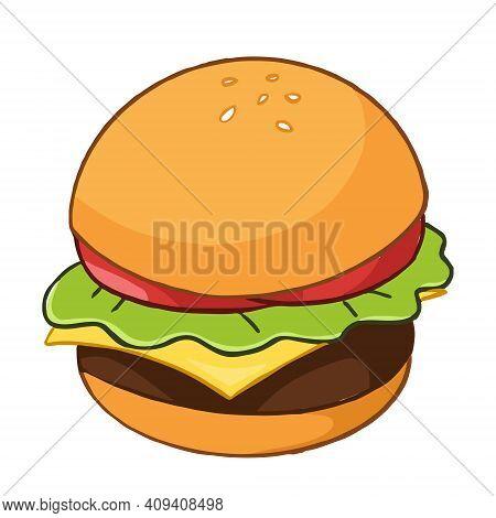 Illustration Hamburger. Cartoon Style Isolated On White Background