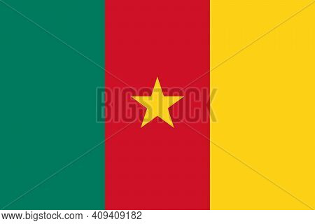National Flag Of Cameroon In The Original Size,colours And Proportions