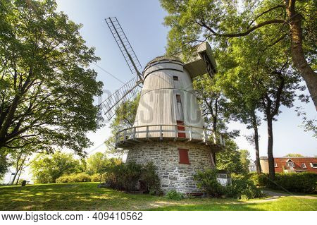 Quebec, Canada- March 14: A View Of Moulin Fleming, A Stone Windmill From Quebec, Canada. Built 1827