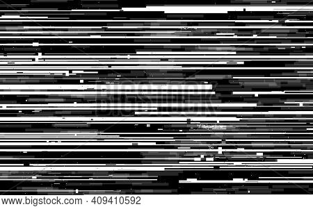 Glitch Lines Texture. Vhs Analog Distortion. White And Black Horizontal Lines. Analog Tv Stripes. Gr
