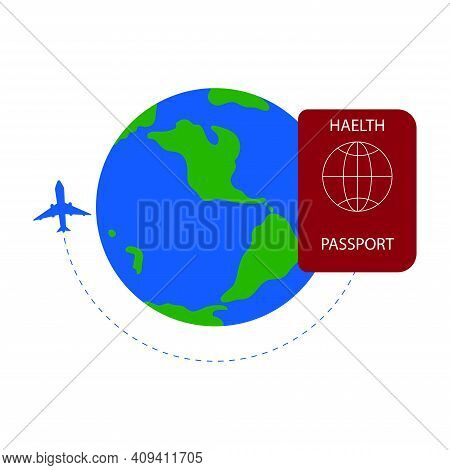 Health Passport Or Immunity Passport To Travel Without Problems During Covid-19. Plane Is Flying Aro