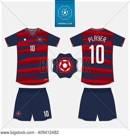 Soccer Jersey Or Football Kit Mockup Template Design For Sport Club. Football Shirt, Shorts Mockup.