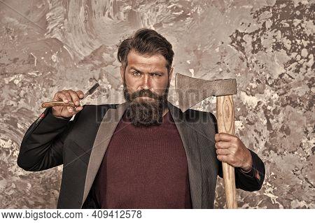 Barbershop Grooming. Barber Hold Razor And Axe. Bearded Man With Brutal Look. Retro Barbershop. Bear