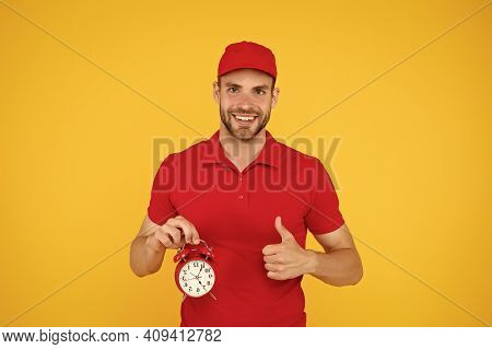 Timeliness Guarantee. Promptness And Punctuality. Delivery Time. Delivery Courier With Clock. Delive