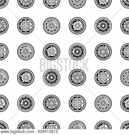 Vector Seamless Pattern Monochrome Automobile Wheels. Black Elements Isolated On White Background De