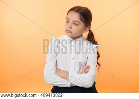 Little Businesswoman. Little Businesswoman On Yellow Background. Business Lady. Little Businesswoman