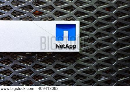 Moscow, Russia - February, 2021: Netapp Logo On A Storage Rack In Datacenter. Netapp, Inc. Is An Ame