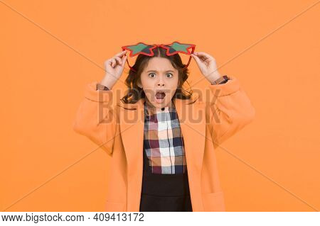 Im Surprised. Small Schoolgirl Keep Mouth Open With Surprise. Little Girl Look Surprised Yellow Back