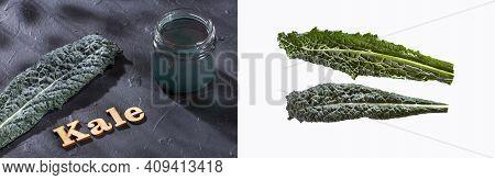 Brassica Oleracea Var - Smoothie And Fresh Kale Leave