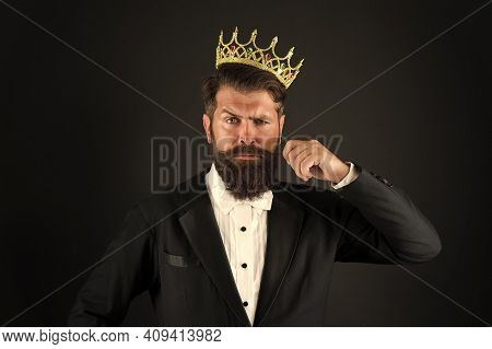 All What They Say Is True. Handsome Bearded Guy King. King Crown. Egoist Selfish Man. Superiority Co