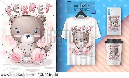 Teddy Ferret- Poster And Merchandising. Vector Eps 10