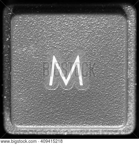 Letter M Key On Computer Keyboard Keypad