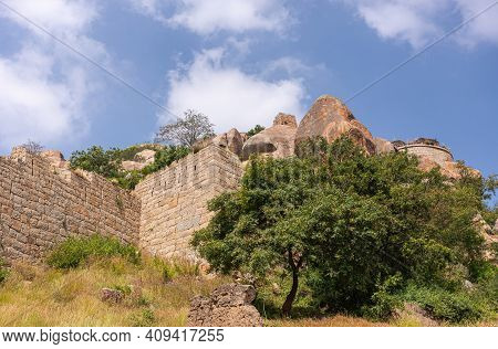Chitradurga, Karnataka, India - November 10, 2013: Fort Or Elusuttina Kote. Brown Stone Ramparts For