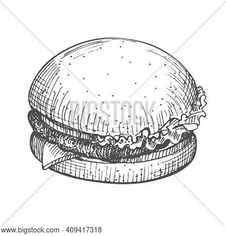 Burger Hand Drawn. Vector Illustration Of Vintage Hamburger Sketch Isolated On White Background. Ico