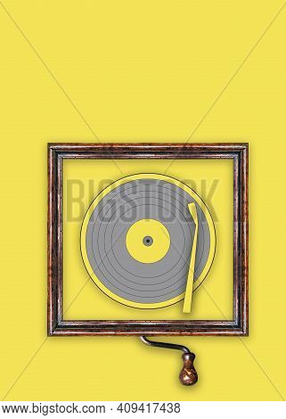 Vynil Disc Illustration With A Vintage Frame Over The Pantone Of The Year 2021 As Background.