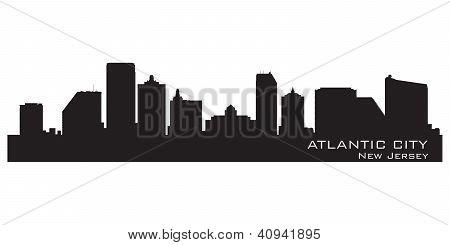 Atlantic City, New Jersey Skyline. Detailed Silhouette.