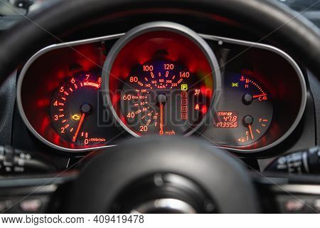 Novosibirsk, Russia - February 18 2021: Mazda Cx-7,speedometer Is Marked From 0 To 140 Km/h.  Design