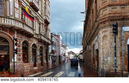 Cuenca, Ecuador - February 24, 2018: Historical Center Of City Cuenca, Unesco Heritage Site. View At