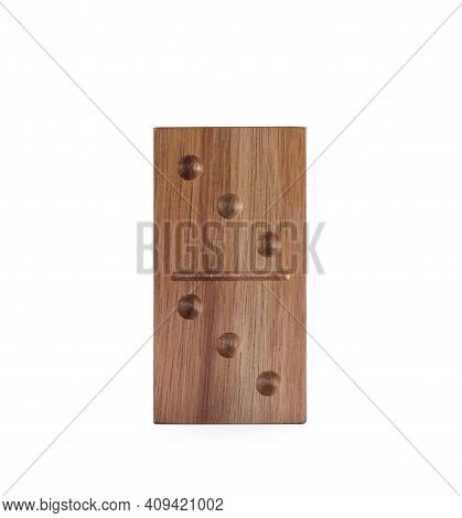 Wooden Domino Tile With Pips Isolated On White