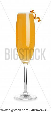 Fresh Alcoholic Mimosa Cocktail Decorated With Orange Peel Isolated On White