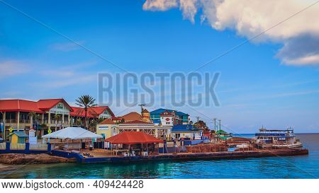 Grand Cayman, Cayman Islands, July 2020, George Town Coastline By The Port South Terminal Building
