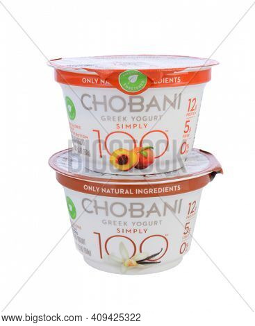 IRVINE, CA - MAY 20, 2014: 2 cups of Chobani Simply 100 Greek Yogurt. Chobani is an American brand launched in 2007 and has become one of the world's leading yougurt manufacturers.