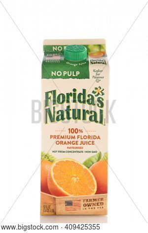 IRVINE, CALIFORNIA - MAY 6, 2019: A 52 ounce container of Floridas Natural Premium Florida Orange Juice with No Pulp.