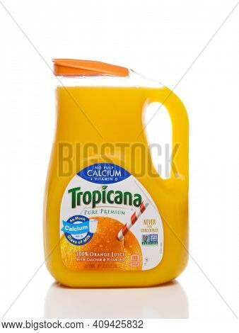 IRVINE, CALIFORNIA, FEBRUARY 7, 2018: Tropicana Orange Juice. Tropicana works with more than 12 established Florida groves, and  is the largest single buyer of Florida fruit.