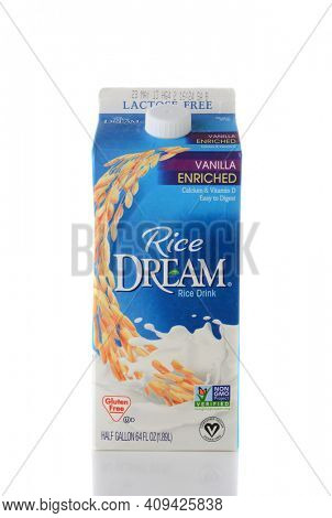 IRVINE, CA - JUNE 2, 2015: Closeup of a carton of Rice Dream Rice Drink. Rice Dream is free of dairy, lactose, cholesterol, gluten, saturated fat  and is kosher and vegan.