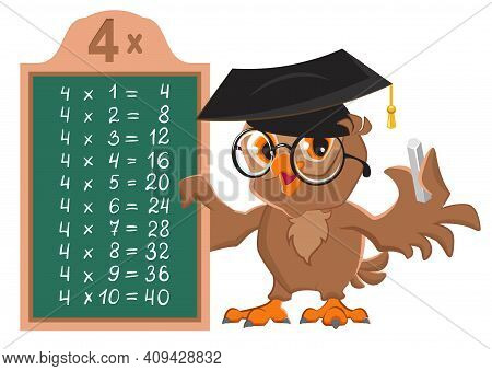 Math Lesson Multiplication Table Of 4 By Numbers. Owl Bird Teacher At Blackboard Shows Table Of Mult