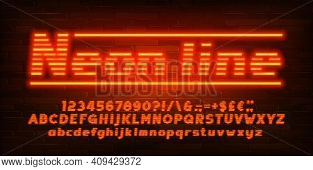 Neon Line Alphabet Font. Neon Light Simple Letters, Numbers And Punctuation. Uppercase And Lowercase