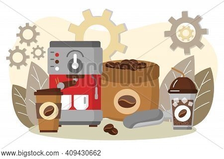 Coffee Making Equipment, Coffee Machine And Cups. Espresso Making Machine And Takeaway Cups. Energet