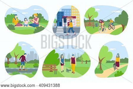 People Walking In The Park Set. Men And Women Performing Leisure Outdoor Activities, Walking Dog, Ri